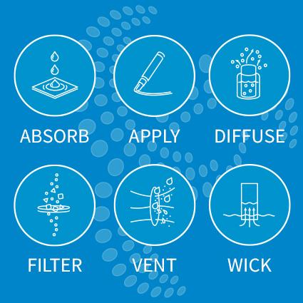 Engineering solutions for Absorbtion, Application, Diffusion, Filtration, Venting and Wicking